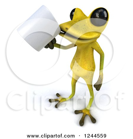 Clipart of a 3d Green Ribbit Frog Drinking Coffee - Royalty Free Illustration by Julos