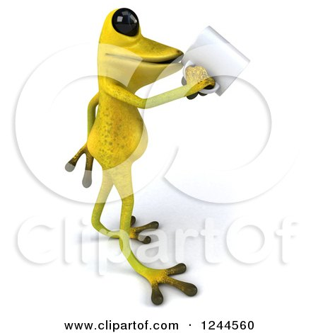 Clipart of a 3d Green Ribbit Frog Drinking Coffee 2 - Royalty Free Illustration by Julos