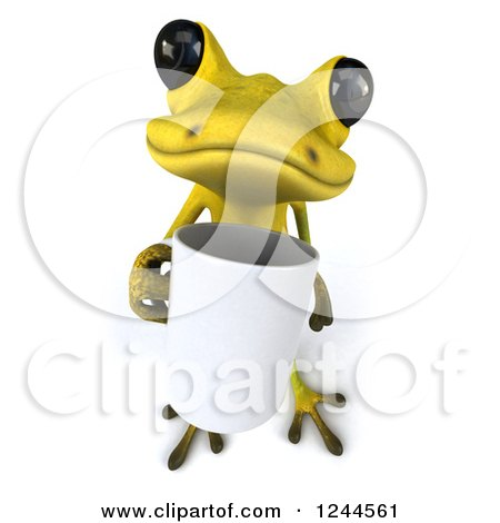 Clipart of a 3d Green Ribbit Frog Holding a Coffee Mug - Royalty Free Illustration by Julos