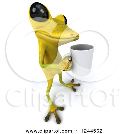 Clipart of a 3d Green Ribbit Frog Holding a Coffee Cup - Royalty Free Illustration by Julos