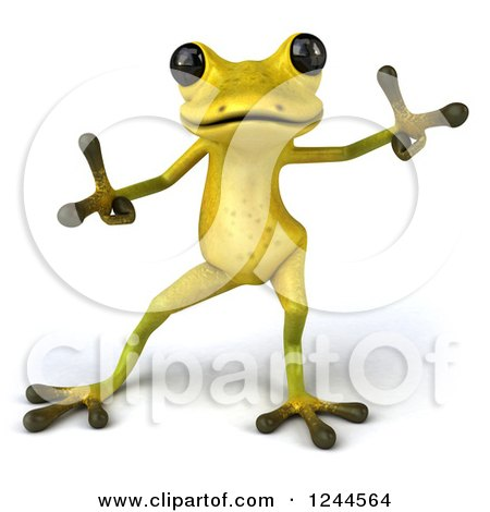 Clipart of a 3d Green Ribbit Frog Doing a Happy Dance 2 - Royalty Free Illustration by Julos