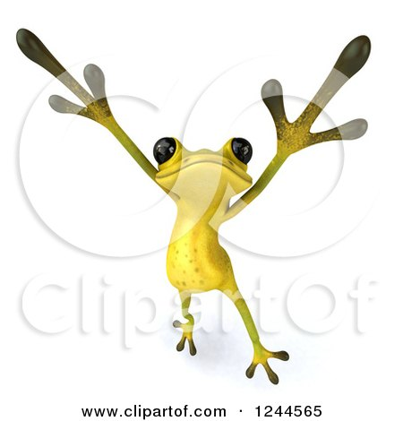 Clipart of a 3d Green Ribbit Frog Doing a Happy Dance 4 - Royalty Free Illustration by Julos