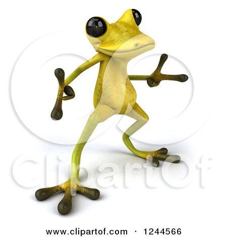Clipart of a 3d Green Ribbit Frog Doing a Happy Dance 3 - Royalty Free Illustration by Julos