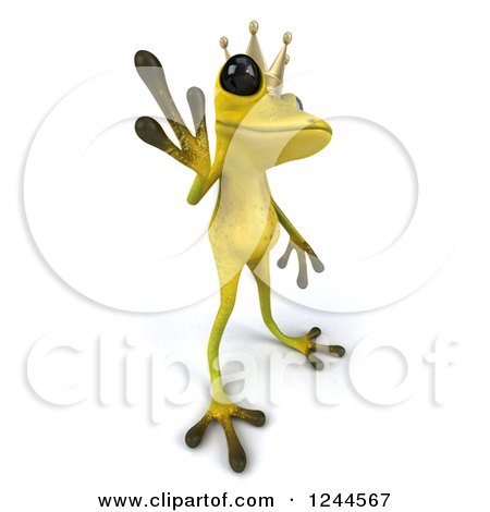 Clipart of a 3d Green Ribbit Frog Prince Waving - Royalty Free Illustration by Julos