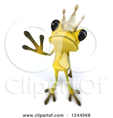 Clipart of a 3d Green Ribbit Frog Prince Waving 2 - Royalty Free Illustration by Julos