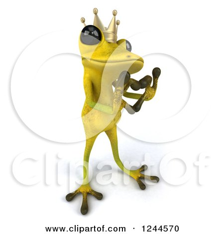 Clipart of a 3d Green Ribbit Frog Prince Gesturing a Heart with His Hands 2 - Royalty Free Illustration by Julos