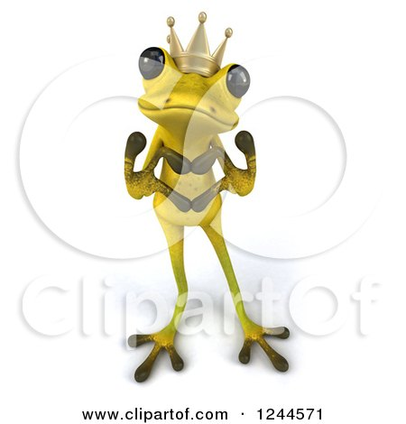 Clipart of a 3d Green Ribbit Frog Prince Gesturing a Heart with His Hands - Royalty Free Illustration by Julos