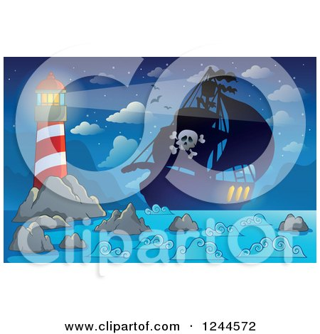 Clipart of a Pirate Ship at Night with a Shining Lighthouse - Royalty Free Vector Illustration by visekart