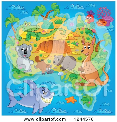 Clipart of a Map with Australian Animals and Ocean - Royalty Free Vector Illustration by visekart