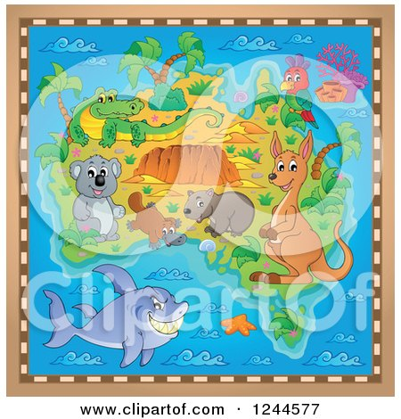 Clipart of a Map with Australian Animals and a Brown Frame - Royalty Free Vector Illustration by visekart