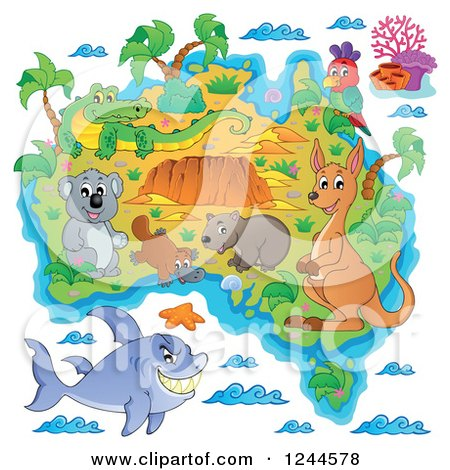 Clipart of a Map with Australian Animals - Royalty Free Vector Illustration by visekart