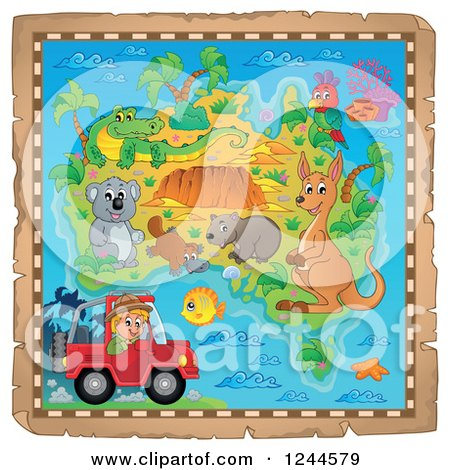 Clipart of a Map with Australian Animals and a Safari Guy in a Jeep - Royalty Free Vector Illustration by visekart