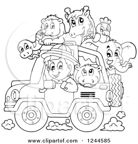 Clipart of a Black and White Safari Boy Driving a Jeep Full of Animals - Royalty Free Vector Illustration by visekart