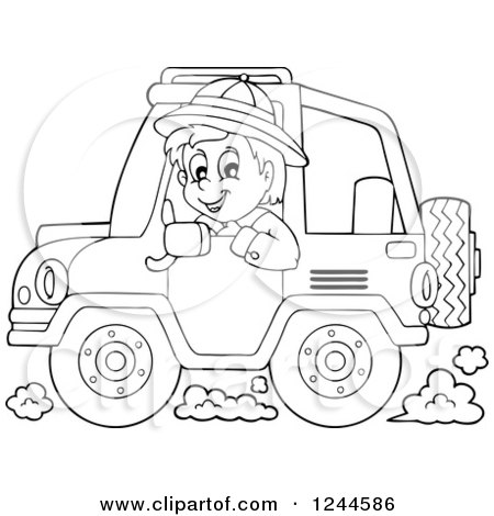 Clipart Of A Black And White Boy Driving A Jeep Royalty Free