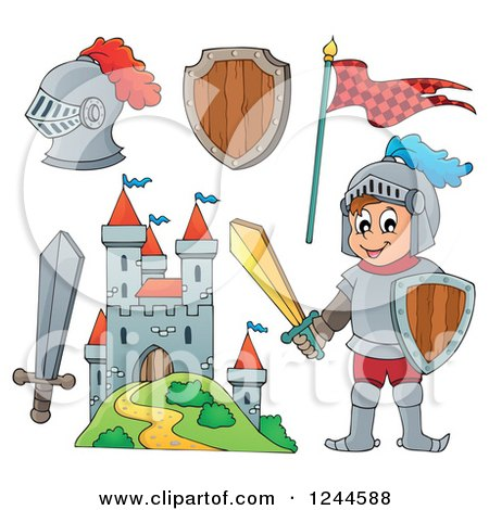 Clipart of a Happy Knight Boy with Gear and a Castle - Royalty Free Vector Illustration by visekart