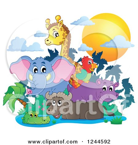 Clipart of a Sunset and African Animals over a Watering Hole - Royalty Free Vector Illustration by visekart