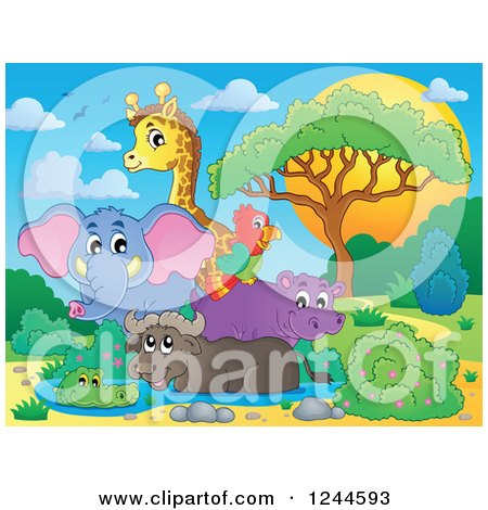 Clipart of a Group of African Animals at a Watering Hole at Sunset - Royalty Free Vector Illustration by visekart
