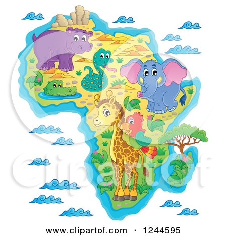 Clipart of a Map of Africa with Wild Animals and Ocean Waves - Royalty Free Vector Illustration by visekart