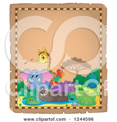 Clipart of a Parchment Background with African Animals and Text Space - Royalty Free Vector Illustration by visekart