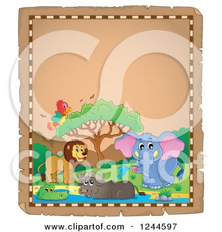 Clipart of a Parchment Background with African Animals and Text Space 2 - Royalty Free Vector Illustration by visekart