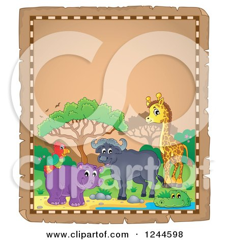 Clipart of a Parchment Background with African Animals and Text Space 3 - Royalty Free Vector Illustration by visekart