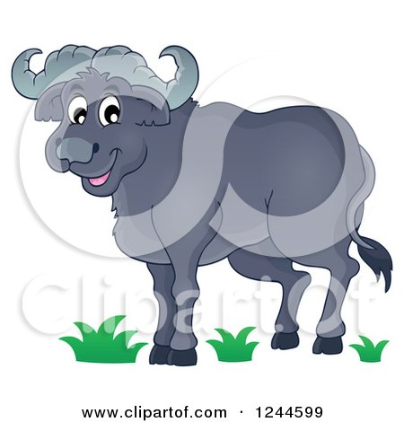 Clipart of a Happy African Bull - Royalty Free Vector Illustration by visekart