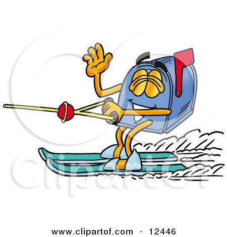 Blue Postal Mailbox Cartoon Character Waving While Water Skiing Posters, Art Prints
