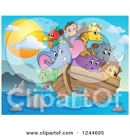 Clipart of Cute Happy Animals on Noahs Ark at Sunset - Royalty Free Vector Illustration by visekart