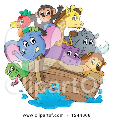 Clipart of Cute Happy Animals on Noahs Ark - Royalty Free Vector Illustration by visekart