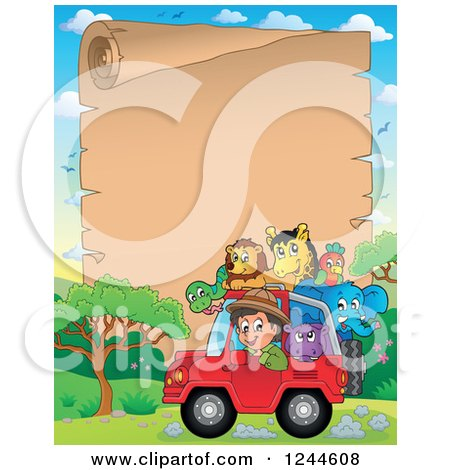 Clipart of a Happy Safari Boy Driving a Jeep Full of Animals over a Parchment Page - Royalty Free Vector Illustration by visekart