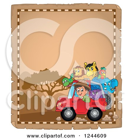 Clipart of a Happy Safari Boy Driving a Jeep Full of Animals on a Parchment Page - Royalty Free Vector Illustration by visekart