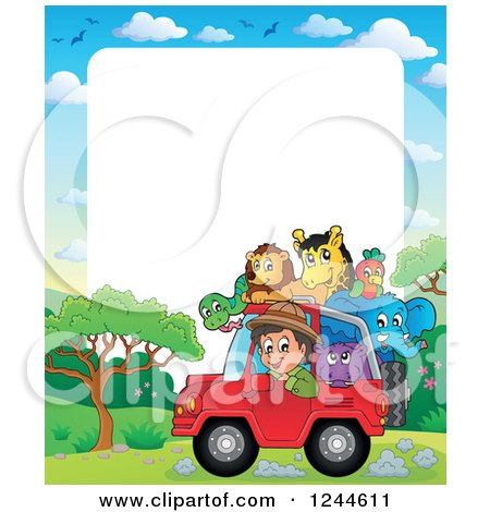 Clipart of a Happy Safari Boy Driving a Jeep Full of Animals over Text Space - Royalty Free Vector Illustration by visekart