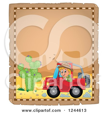 Clipart of a Happy Boy Driving a Jeep on a Parchment Page - Royalty Free Vector Illustration by visekart