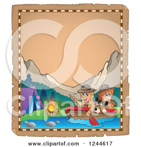 Clipart of Happy Camping Scouts and Dog Rowing down a River on an Old Parchment Page - Royalty Free Vector Illustration by visekart