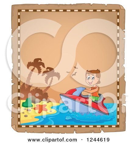 Clipart of a Parchment Page with a Jetskiing Boy - Royalty Free Vector Illustration by visekart