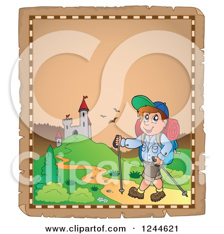 Clipart of a Happy Man Hiking to a Castle on a Parchment Page - Royalty Free Vector Illustration by visekart