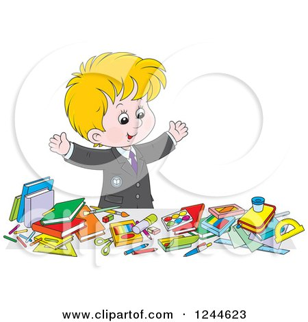 Clipart of a Blond School Boy Displaying All of His Supplies - Royalty Free Vector Illustration by Alex Bannykh