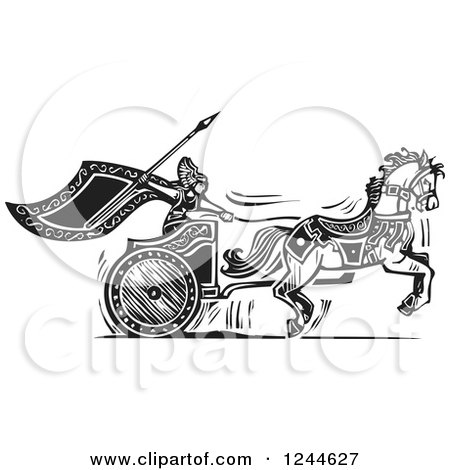 Clipart of a Black and White Woodcut Charging Viking Valkyrie and Horse Chariot - Royalty Free Vector Illustration by xunantunich