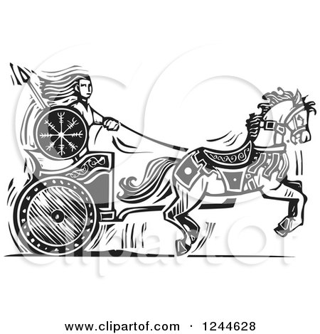 Clipart of a Black and White Woodcut Viking Valkyrie and Horse Chariot - Royalty Free Vector Illustration by xunantunich