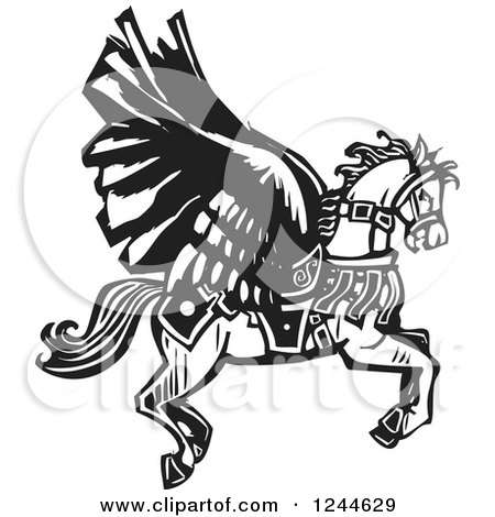 Clipart of a Black and White Woodcut Winged Pegasus Horse Flying - Royalty Free Vector Illustration by xunantunich