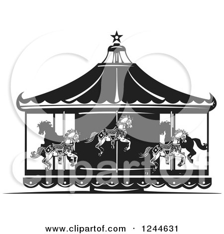 Clipart of a Black and White Woodcut Carousel with Horses - Royalty Free Vector Illustration by xunantunich