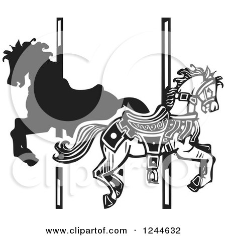 Clipart of Black and White Woodcut Carousel Horses - Royalty Free Vector Illustration by xunantunich