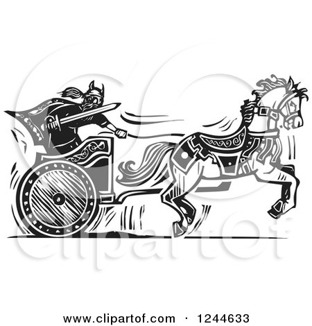 Black Horses with Chariot Clip Art