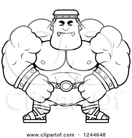 Clipart of a Black and White Mad Brute Muscular Hercules Man - Royalty Free Vector Illustration by Cory Thoman