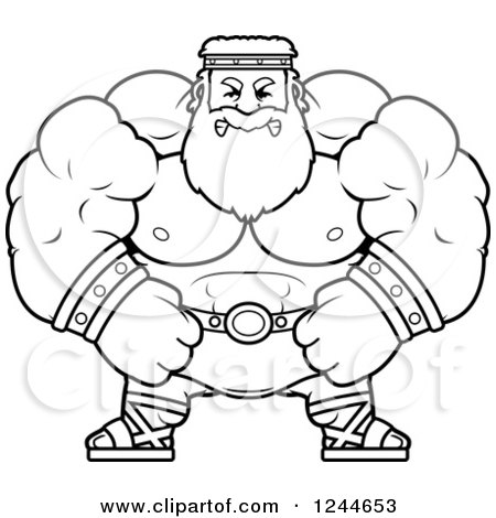 Clipart of a Black and White Mad Brute Muscular Zeus Man - Royalty Free Vector Illustration by Cory Thoman