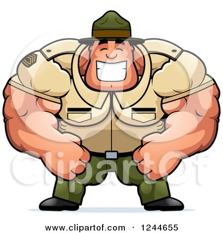 Clipart of a Brute Muscular Drill Sergeant Man Grinning - Royalty Free Vector Illustration by Cory Thoman
