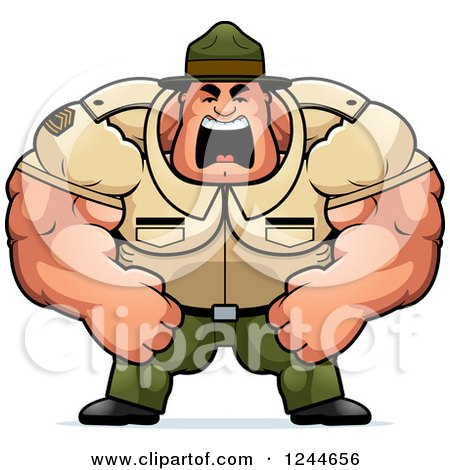 Clipart of a Brute Muscular Drill Sergeant Man Shouting - Royalty Free Vector Illustration by Cory Thoman