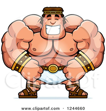 Clipart of a Brute Muscular Hercules Man Grinning - Royalty Free Vector Illustration by Cory Thoman