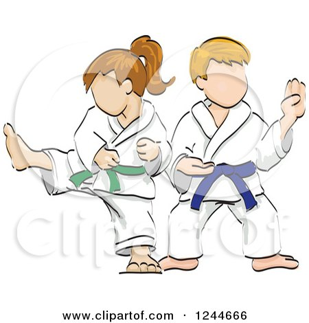 Clipart Strong Black Or Hispanic Karate Woman With A Black Belt ...