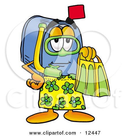 Clipart Picture of a Blue Postal Mailbox Cartoon Character in Green and Yellow Snorkel Gear by Toons4Biz